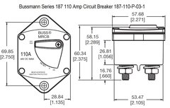 Bussmann Series 187 110 Amp Circuit Breaker 187-110-P-03-1