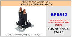 HWH Continuous Duty Pump Relay, RP5512