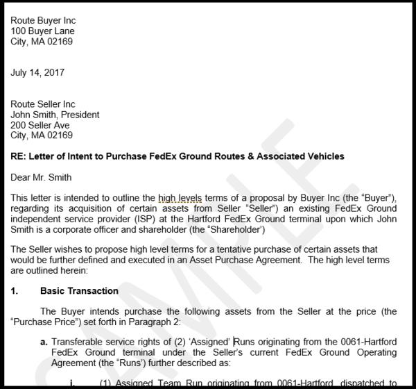 Sample fedex route letter of intent loi myground support sample letter of intent loi for route purchase spiritdancerdesigns Gallery