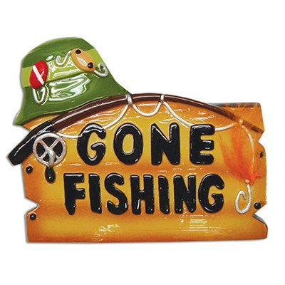 Gone fishing moe 39 s ornaments for Gone fishing sign