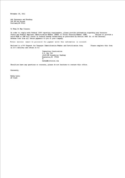 Sage 300 Report AP W 9 Request Letter