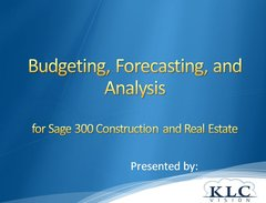 Sage 300 CRE - Budgets, Forecasts, and Analysis