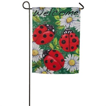 Ladybugs on Green Garden Flag