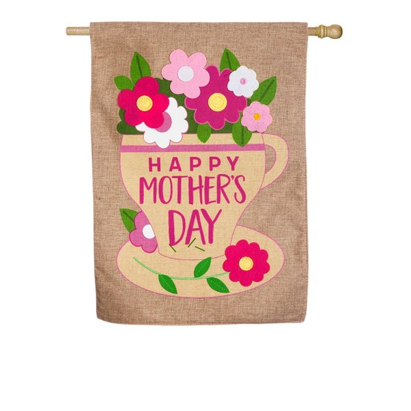 Happy Mother's Day Burlap House Flag
