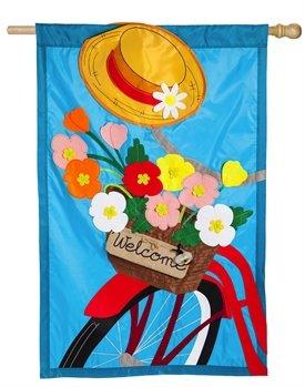 Bicycle Basket Applique House Flag