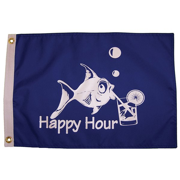 """The Happy Hour Fish 12""""x18"""" Grommet Flags"""