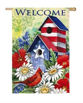 Patriotic Birdhouse & Cardinal House Flag