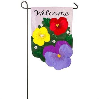 Pansies Applique Garden Flag