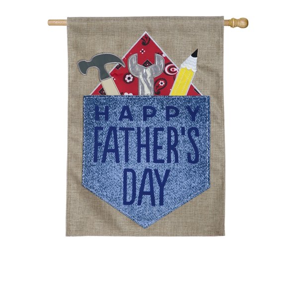 Happy Father's Day Burlap House Flag