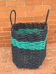 Navy Blue & Turquoise Rope Bin