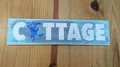 Cottage Crab Blue and White Nautical Themed Wood Sign