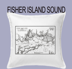 Vintage Harbor Chart Pillow Fisher Island Sound