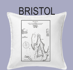 Vintage Harbor Chart Pillow Bristol