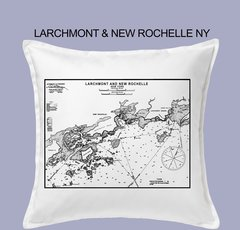 Vintage Harbor Chart Pillow Larchmont & New Rochelle NY