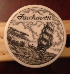"Fairhaven MA  ''Scrimshaw"" on Resin Wine Vaccum Pump & Stopper"