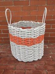 Light Gray & Coral Rope Bin