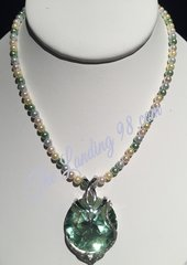 Swarovski Light Green Crystal and Multi-color Pearl Necklace with large heart clasp
