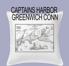 Vintage Harbor Chart Pillow Captains Harbor Greenwich Connecticut