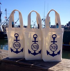 New Bedford NB Nautical Anchor Double Wine Bottle Bag Tote or 1.5 Litter Wine Bottle Can Cutomize with Your Monogram
