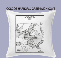 Vintage Harbor Chart Pillow Coscob Harbor & Greenwich Cove
