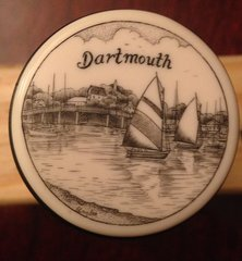 "Dartmouth MA  ''Scrimshaw"" on Resin Wine Vaccum Pump & Stopper"