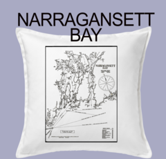 Vintage Harbor Chart Pillow Narragansett Bay