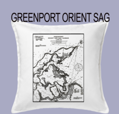 Vintage Harbor Chart Pillow Greenport Orient and Sag Harbor