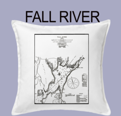 Vintage Harbor Chart Pillow Fall River