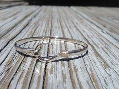 Sterling Silver Fish hook Bangle/ 14kt