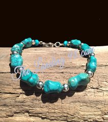 Turquoise and Silver Bracelet with Heart Clasp