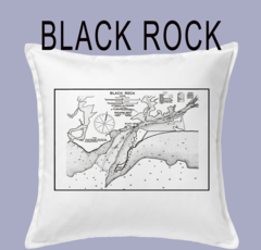 Vintage Harbor Chart Pillow Black Rock