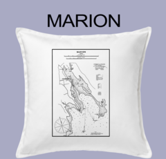 Vintage Harbor Chart Pillow Marion