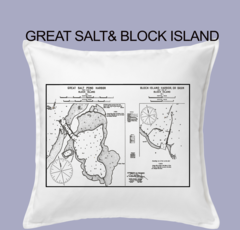 Vintage Harbor Chart Pillow Great Salt & Block Island
