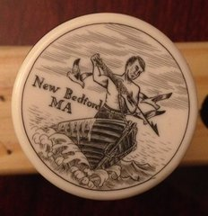 "New Bedford MA Whaler ''Scrimshaw"" on Resin Wine Vaccum Pump & Stopper"