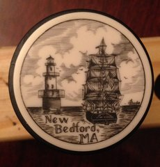 "Scene of New Bedford MA ''Scrimshaw"" on Resin Wine Vaccum Pump & Stopper New Bedford MA"