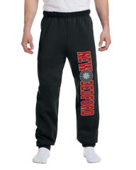 Black and Red Unisex New Bedford Compass Sweatpants Elastic Bottoms With Pockets