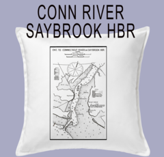 Vintage Harbor Chart Pillow Connecticut River and Saybrook Harbor
