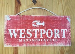 Red and White Westport Wood Sign