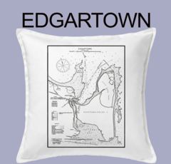 Vintage Harbor Chart Pillow Edgartown