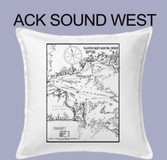 Vintage Harbor Chart Pillow Nantucket Sound West
