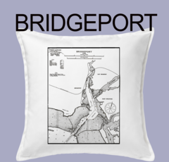 Vintage Harbor Chart Pillow Bridgeport