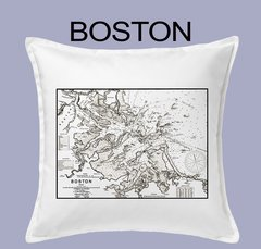 Vintage Harbor Chart Pillow Boston