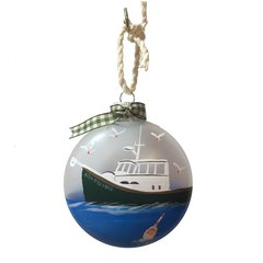 Ornament Foggy Day Green Fishing Vessel New Bedford Ornament Disc
