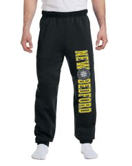 Black and Gold Unisex New Bedford Compass Sweatpants Elastic Bottoms With Pockets