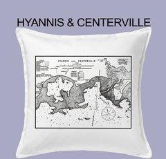 Vintage Harbor Chart Pillow Hyannis & Centerville