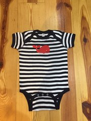 Navy Striped Onsies withWhale
