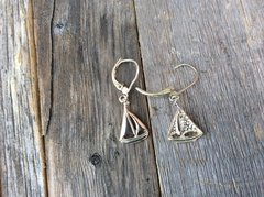 Sterling Silver Small Lever back Sail Boat Earings