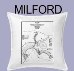 Vintage Harbor Chart Pillow Milford