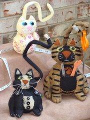 Kitty pincushion kits _ makes all three cats (fabrics and pattern)