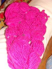Magenta handspun corriedale wool yarn 155 yd